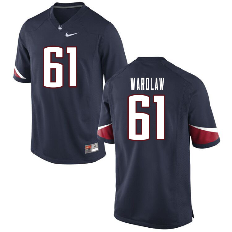 Men #61 Douglas Wardlaw Uconn Huskies College Football Jerseys Sale-Navy