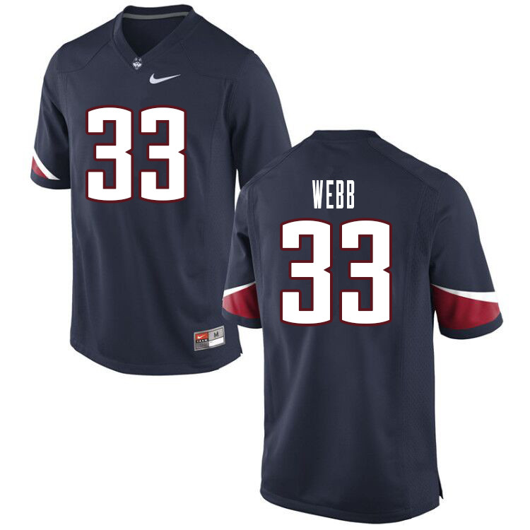 Men #33 Hunter Webb Uconn Huskies College Football Jerseys Sale-Navy