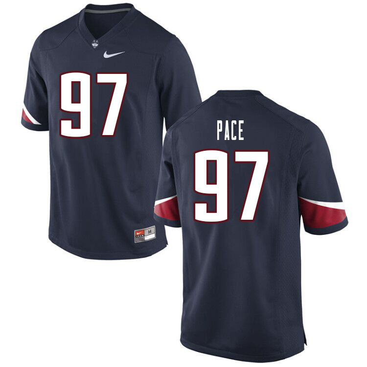 Men #97 Jonathan Pace Uconn Huskies College Football Jerseys Sale-Navy