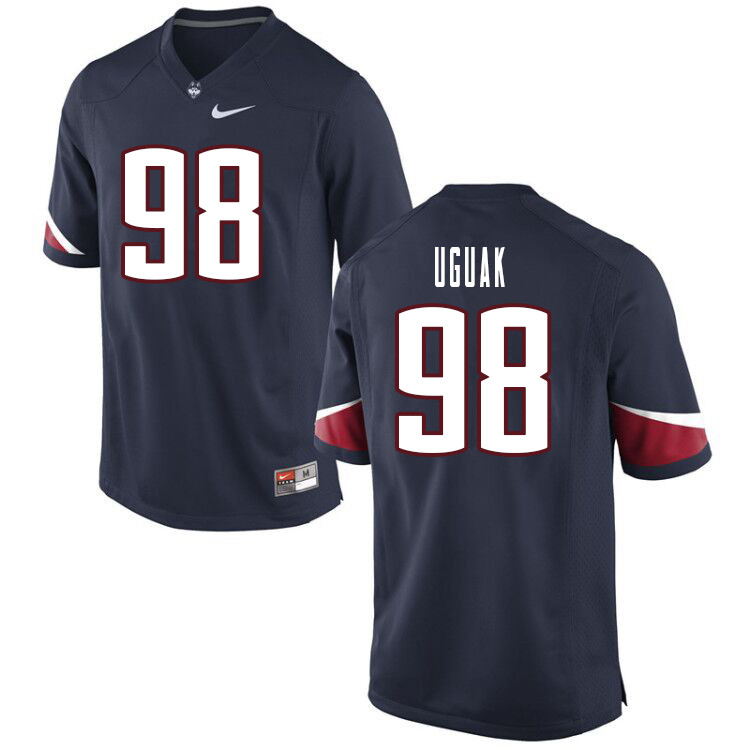 Men #98 Lwal Uguak Uconn Huskies College Football Jerseys Sale-Navy