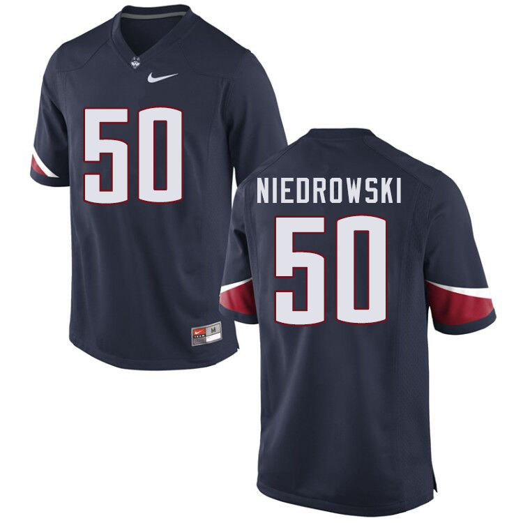 Men #50 Dylan Niedrowski Uconn Huskies College Football Jerseys Sale-Navy