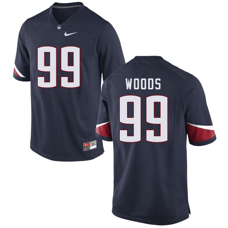 Men #99 Jeff Woods Uconn Huskies College Football Jerseys Sale-Navy