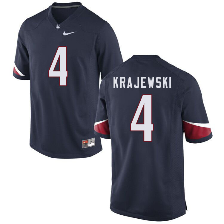 Men #4 Steven Krajewski Uconn Huskies College Football Jerseys Sale-Navy