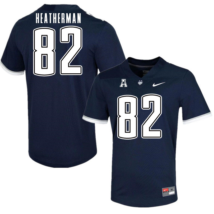 Men #82 Brendan Heatherman Uconn Huskies College Football Jerseys Sale-Navy