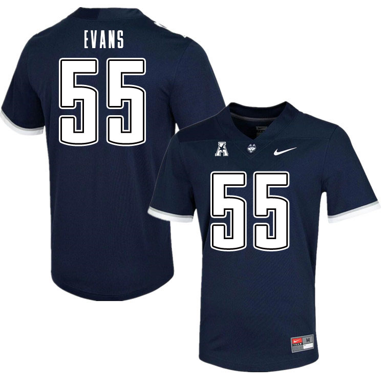 Men #55 MarQuayveon Evans Uconn Huskies College Football Jerseys Sale-Navy