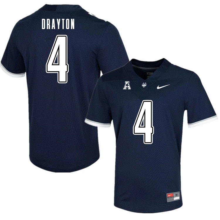 Men #4 Matt Drayton Uconn Huskies College Football Jerseys Sale-Navy