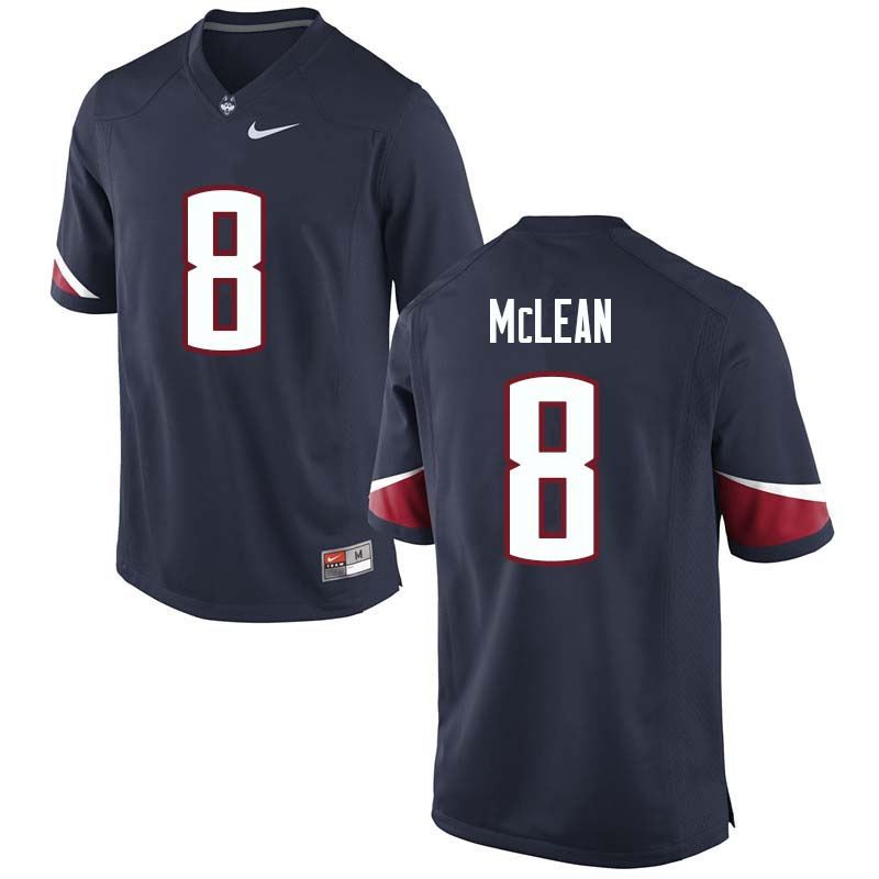 Men's #8 Aaron McLean Uconn Huskies College Football Jerseys Sale-Navy - Click Image to Close
