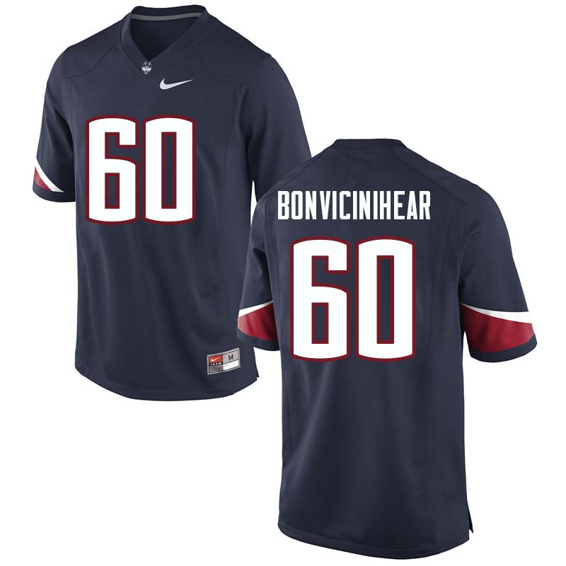 Men's #60 Ben BonviciniHear Uconn Huskies College Football Jerseys Sale-Navy