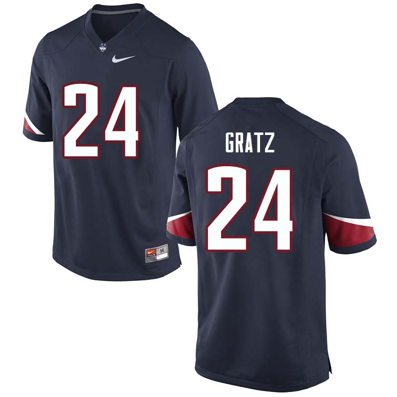 Men's #24 Dwayne Gratz Uconn Huskies College Football Jerseys Sale-Navy
