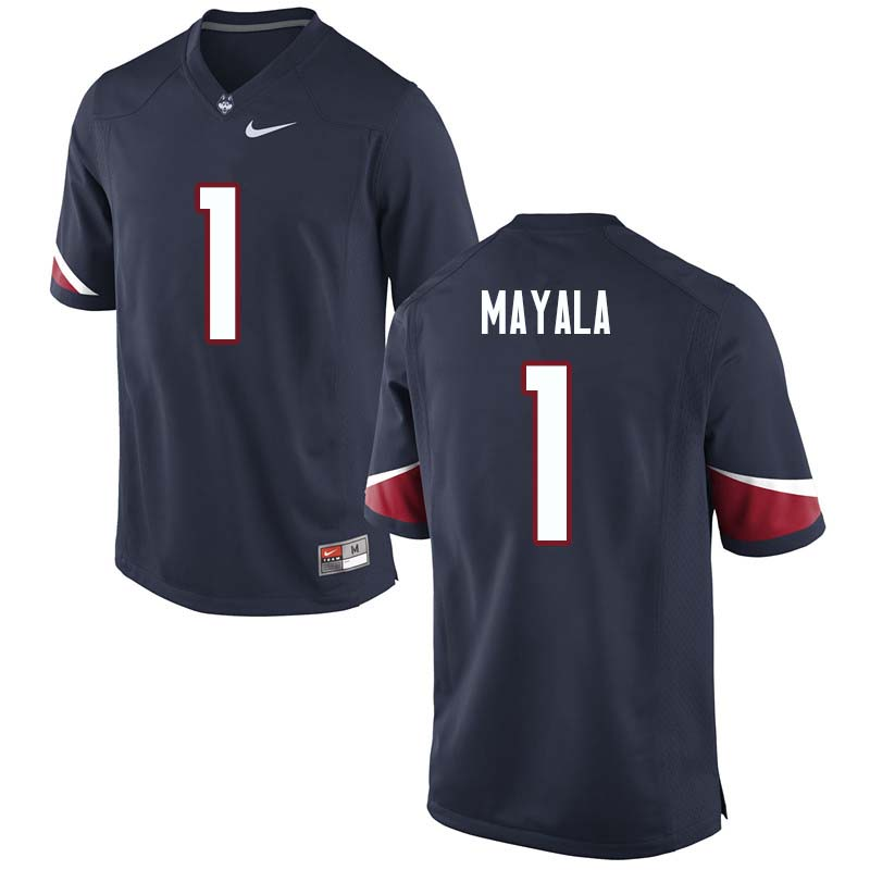 Men's #1 Hergy Mayala Uconn Huskies College Football Jerseys Sale-Navy