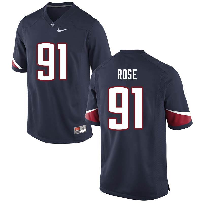 Men's #91 Jay Rose Uconn Huskies College Football Jerseys Sale-Navy