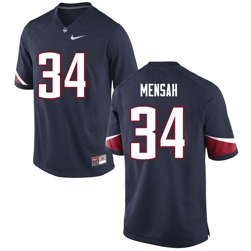 Men's #34 Kevin Mensah Uconn Huskies College Football Jerseys Sale-Navy