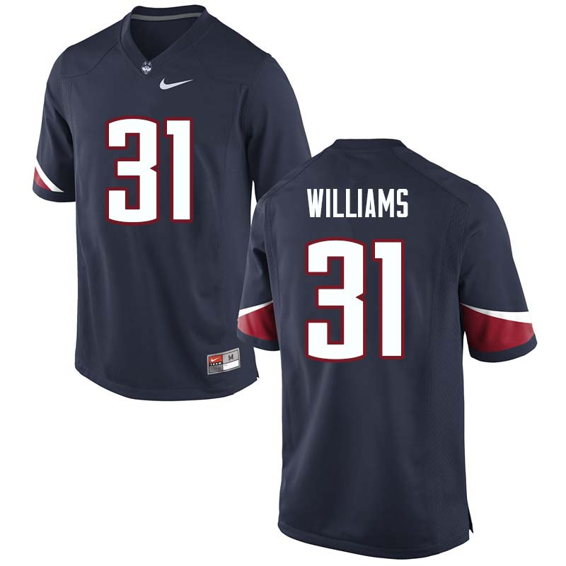 Men's #31 Nick Williams Uconn Huskies College Football Jerseys Sale-Navy
