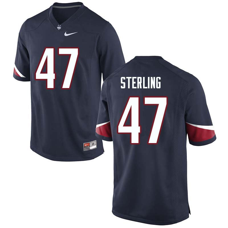 Men's #47 Santana Sterling Uconn Huskies College Football Jerseys Sale-Navy