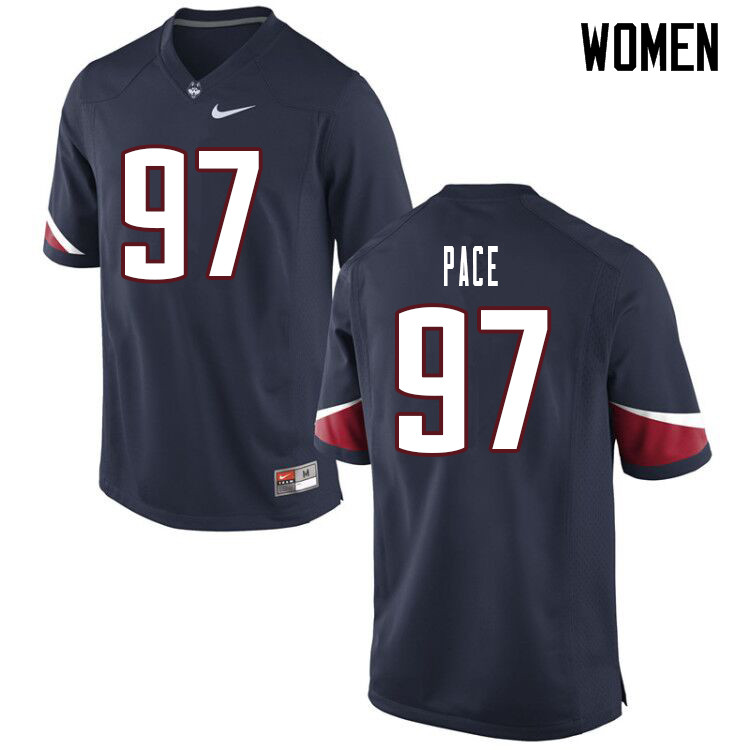 Women #97 Jonathan Pace Uconn Huskies College Football Jerseys Sale-Navy