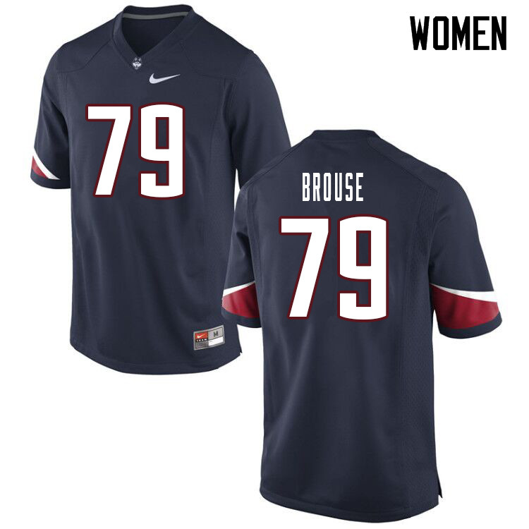 Women #79 Noel Brouse Uconn Huskies College Football Jerseys Sale-Navy