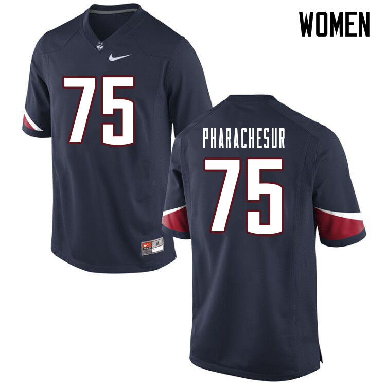 Women #75 Tenzin Pharachesur Uconn Huskies College Football Jerseys Sale-Navy