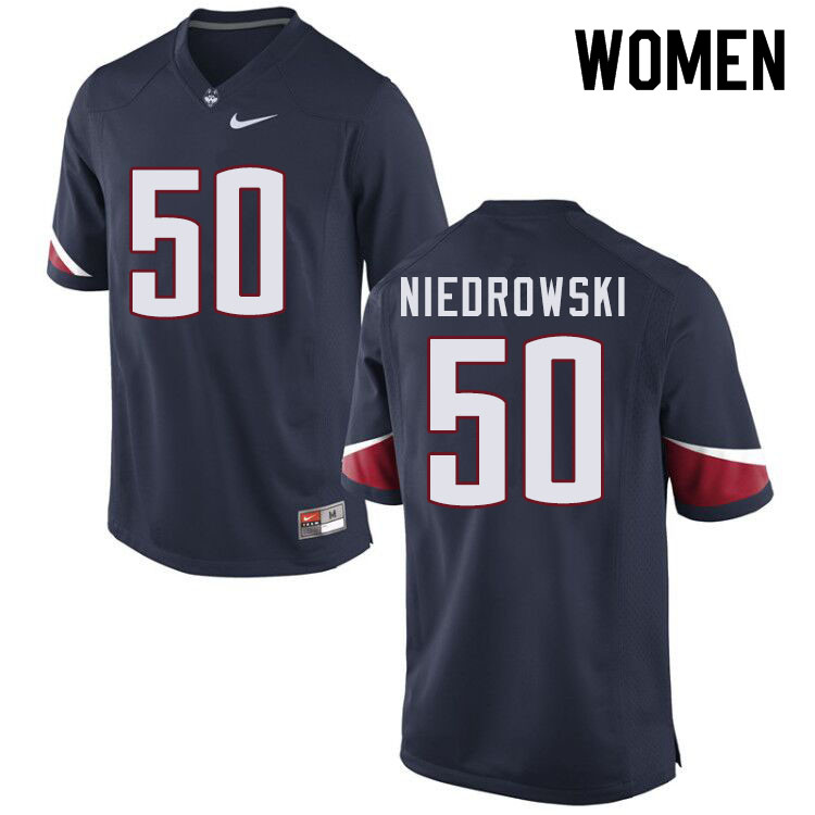 Women #50 Dylan Niedrowski Uconn Huskies College Football Jerseys Sale-Navy