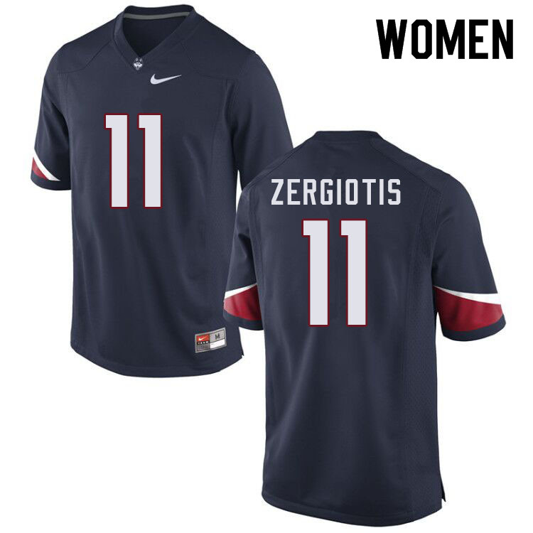 Women #11 Jack Zergiotis Uconn Huskies College Football Jerseys Sale-Navy