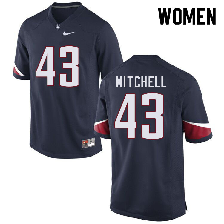 Women #43 Jackson Mitchell Uconn Huskies College Football Jerseys Sale-Navy