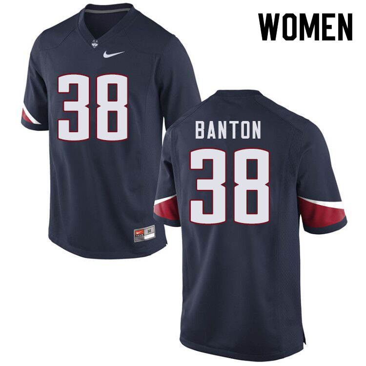 Women #38 Lavarey Banton Uconn Huskies College Football Jerseys Sale-Navy