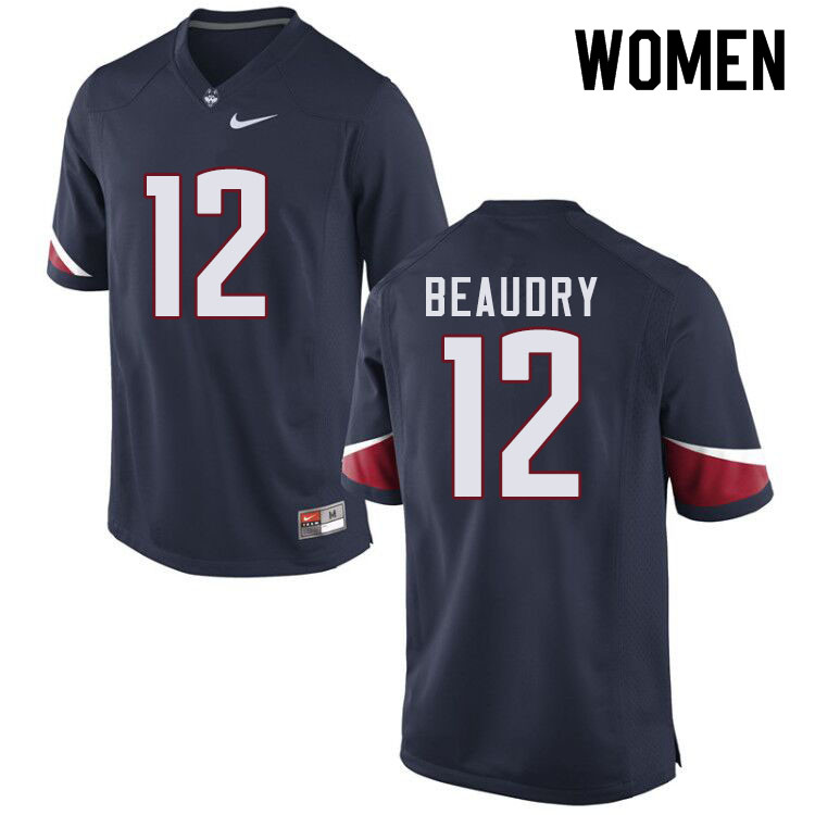 Women #12 Mike Beaudry Uconn Huskies College Football Jerseys Sale-Navy