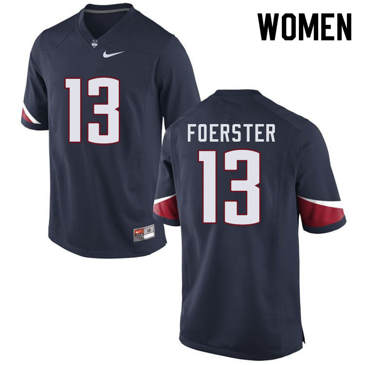 Women #13 Miles Foerster Uconn Huskies College Football Jerseys Sale-Navy