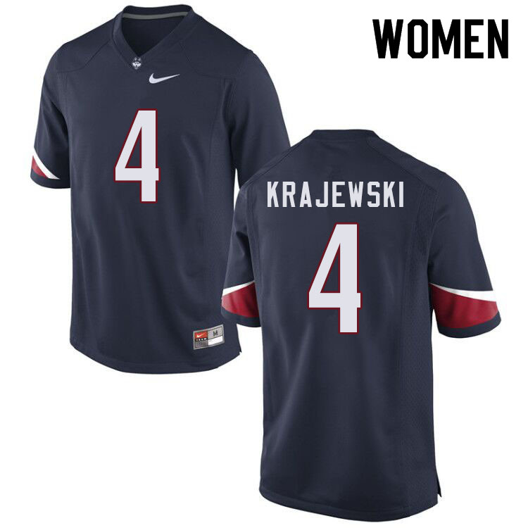 Women #4 Steven Krajewski Uconn Huskies College Football Jerseys Sale-Navy