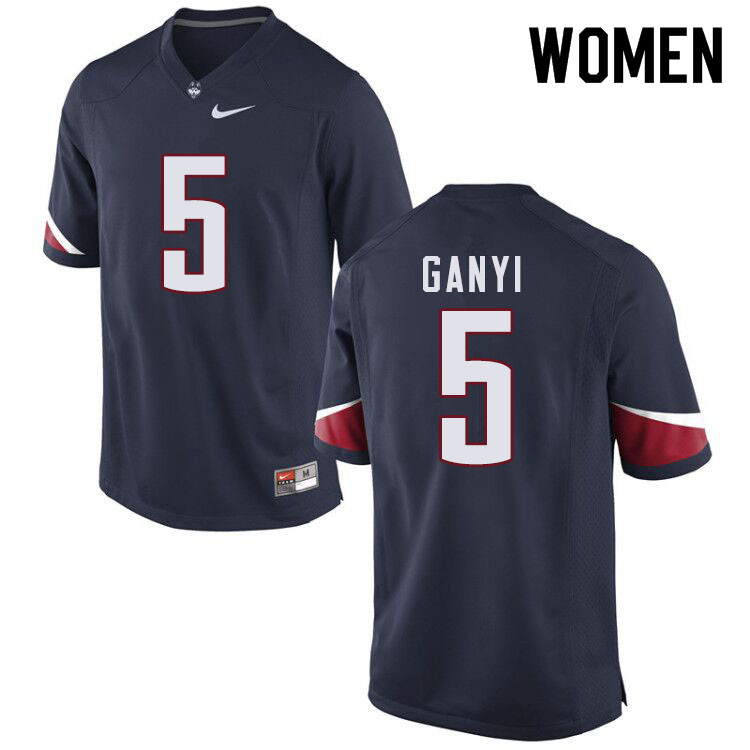 Women #5 Terrence Ganyi Uconn Huskies College Football Jerseys Sale-Navy