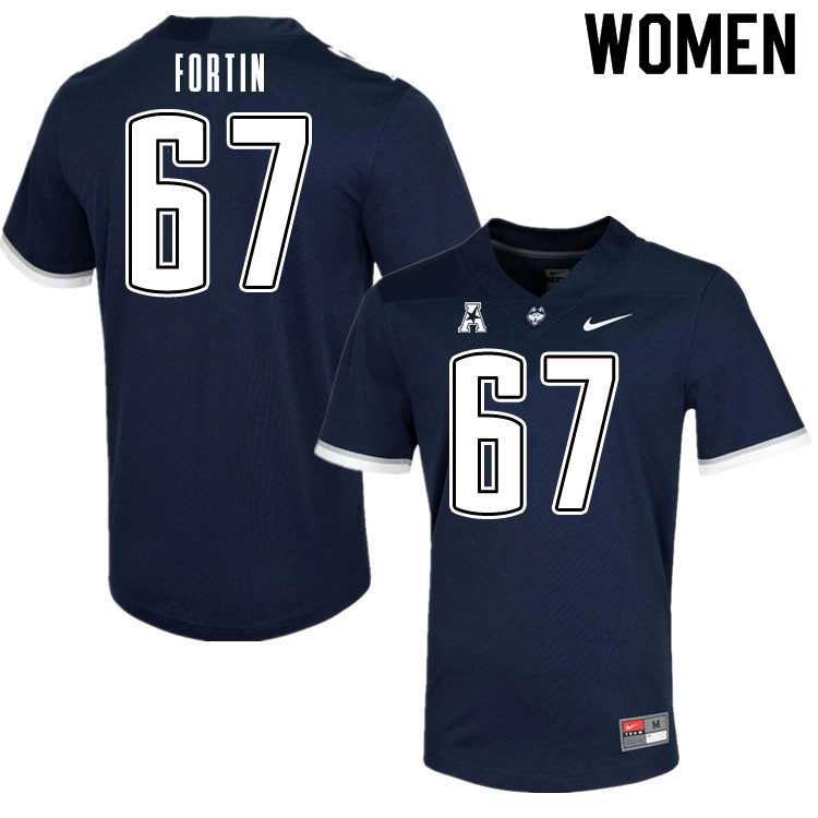 Women #67 Christopher Fortin Uconn Huskies College Football Jerseys Sale-Navy