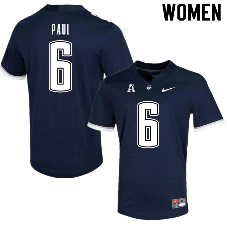 Women #6 Keyshawn Paul Uconn Huskies College Football Jerseys Sale-Navy