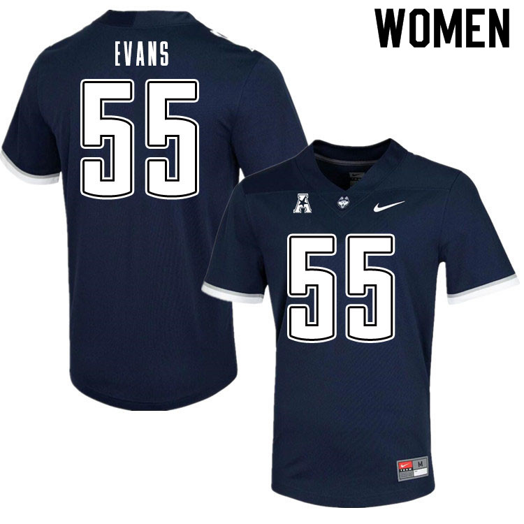 Women #55 MarQuayveon Evans Uconn Huskies College Football Jerseys Sale-Navy
