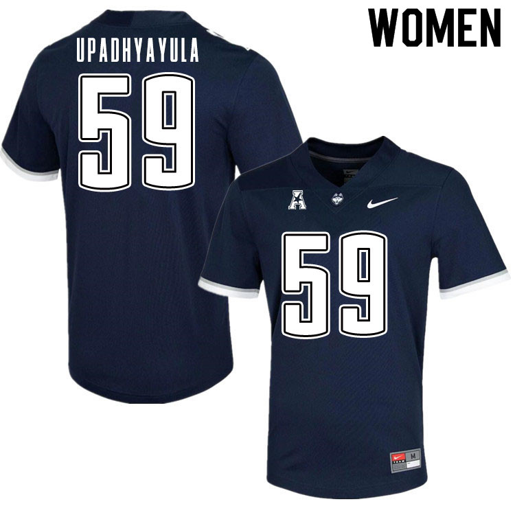 Women #59 Nilay Upadhyayula Uconn Huskies College Football Jerseys Sale-Navy