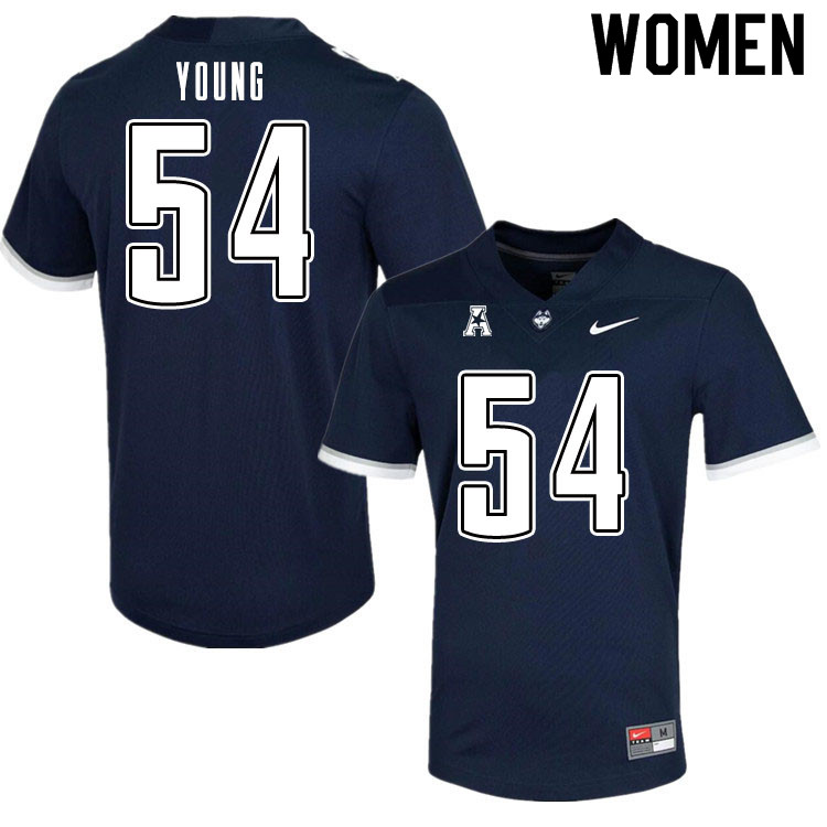 Women #54 Remon Young Uconn Huskies College Football Jerseys Sale-Navy