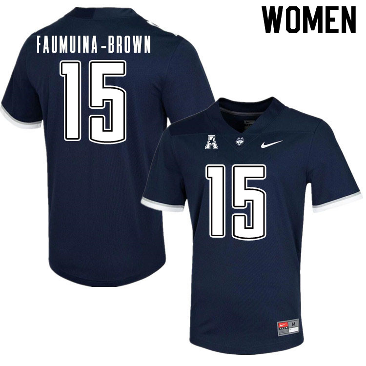 Women #15 Tui Faumuina-Brown Uconn Huskies College Football Jerseys Sale-Navy