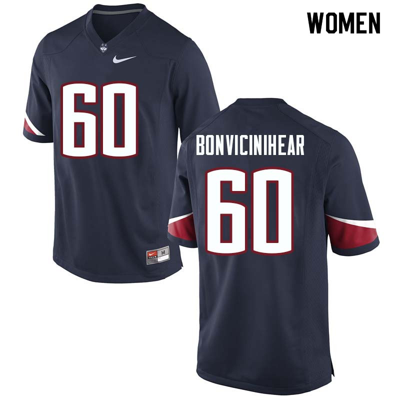 Women #60 Ben BonviciniHear Uconn Huskies College Football Jerseys Sale-Navy