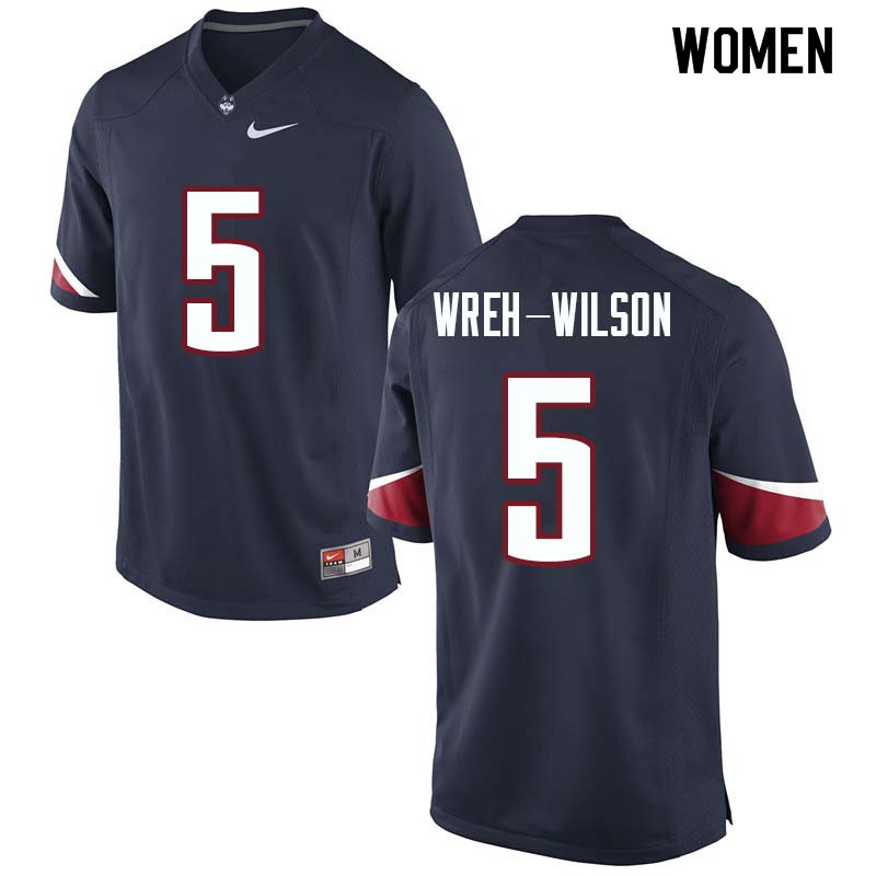 Women #5 Blidi Wreh-Wilson Uconn Huskies College Football Jerseys Sale-Navy