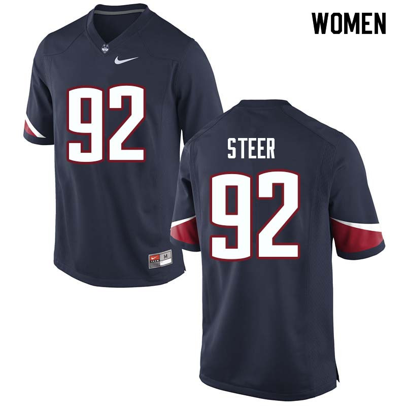 Women #92 Carlton Steer Uconn Huskies College Football Jerseys Sale-Navy