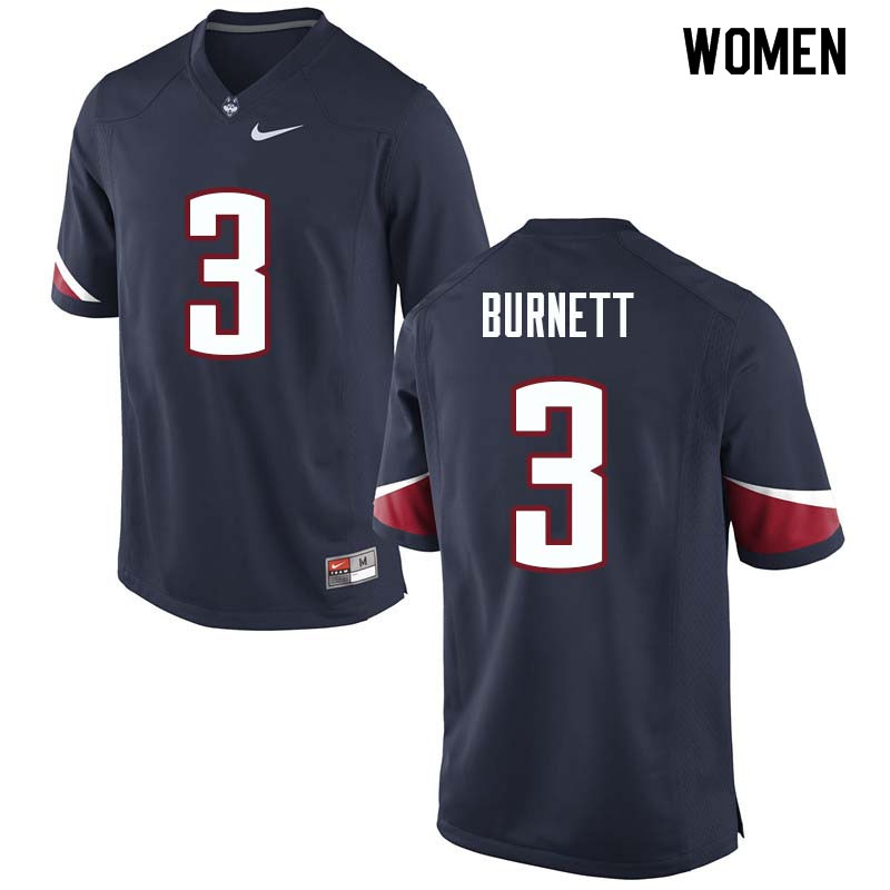 Women #3 Garrison Burnett Uconn Huskies College Football Jerseys Sale-Navy