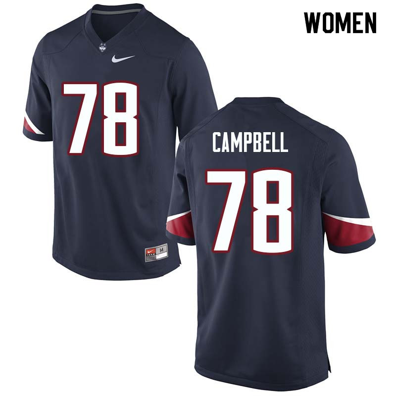 Women #78 Ian Campbell Uconn Huskies College Football Jerseys Sale-Navy