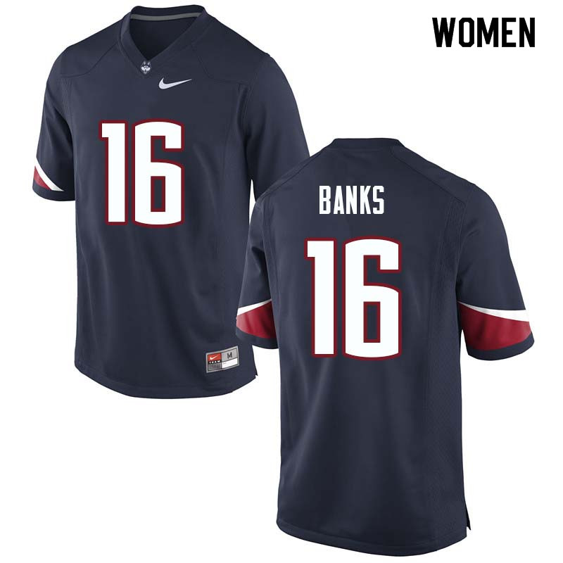 Women #16 Malik Banks Uconn Huskies College Football Jerseys Sale-Navy