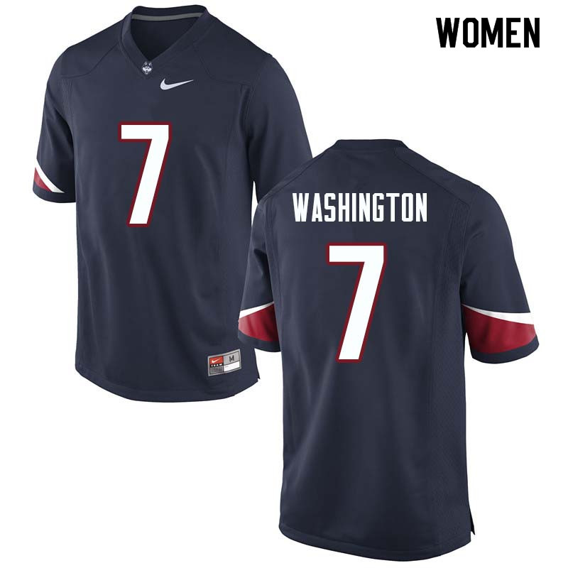 Women #7 Marvin Washington Uconn Huskies College Football Jerseys Sale-Navy