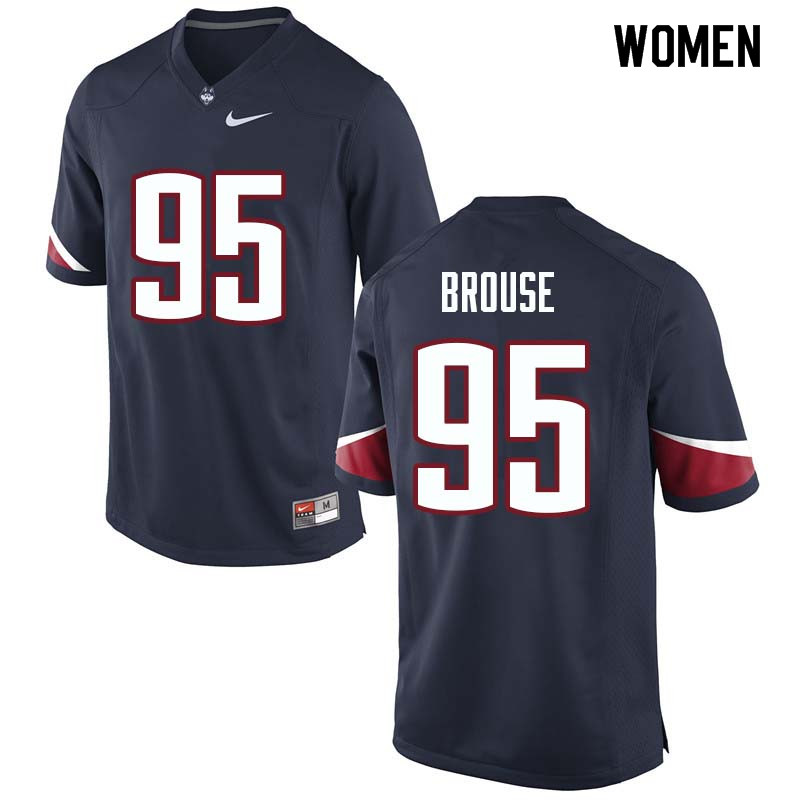 Women #95 Noel Brouse Uconn Huskies College Football Jerseys Sale-Navy