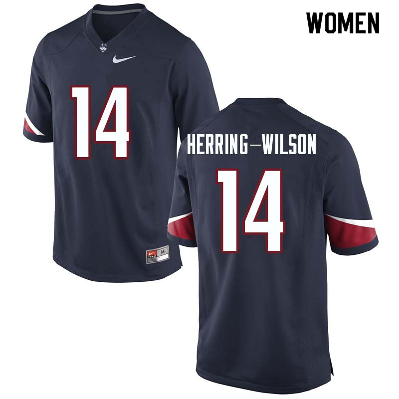 Women #14 Tahj Herring-Wilson Uconn Huskies College Football Jerseys Sale-Navy