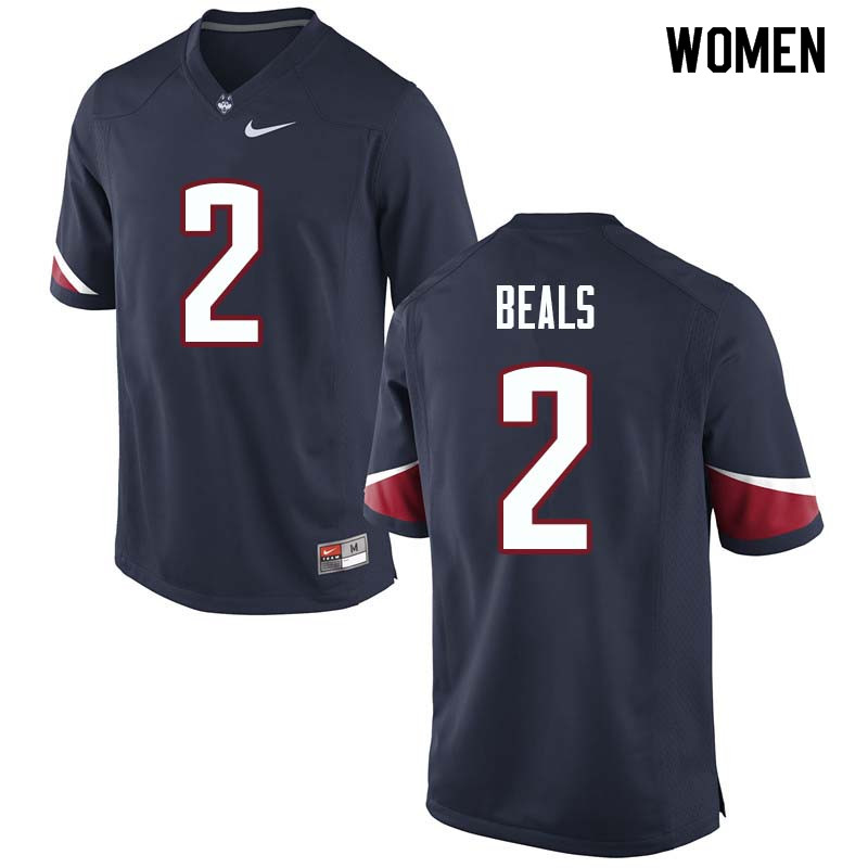 Women #2 Tyraiq Beals Uconn Huskies College Football Jerseys Sale-Navy