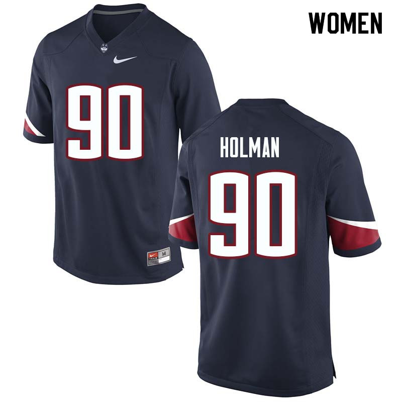 Women #90 Zordan Holman Uconn Huskies College Football Jerseys Sale-Navy