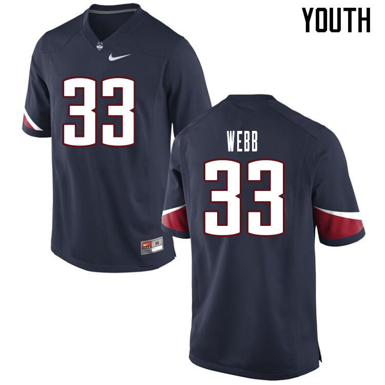 Youth #33 Hunter Webb Uconn Huskies College Football Jerseys Sale-Navy
