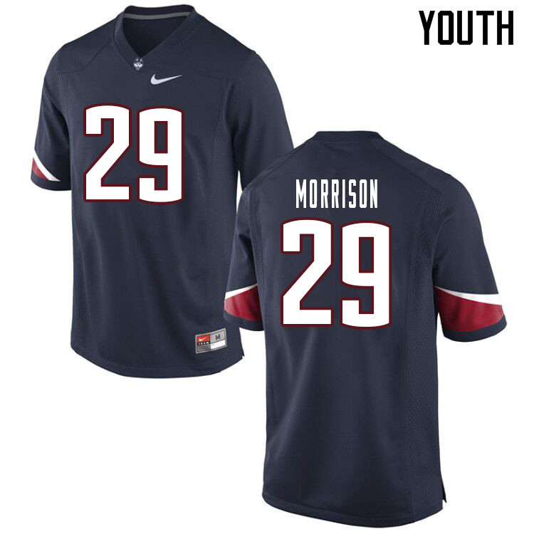 Youth #29 Jordan Morrison Uconn Huskies College Football Jerseys Sale-Navy