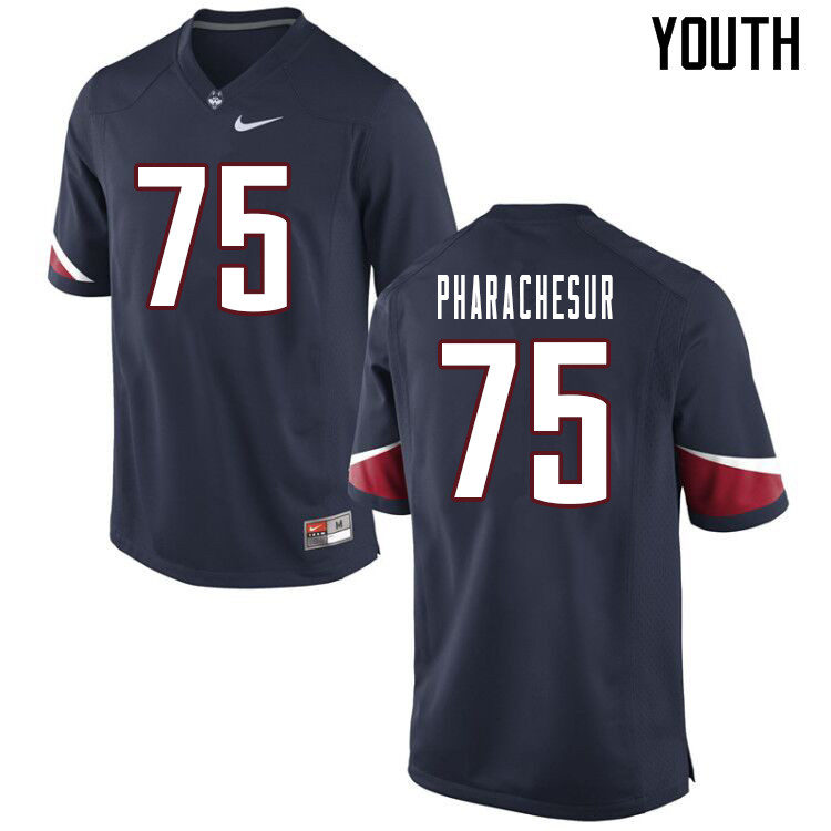 Youth #75 Tenzin Pharachesur Uconn Huskies College Football Jerseys Sale-Navy