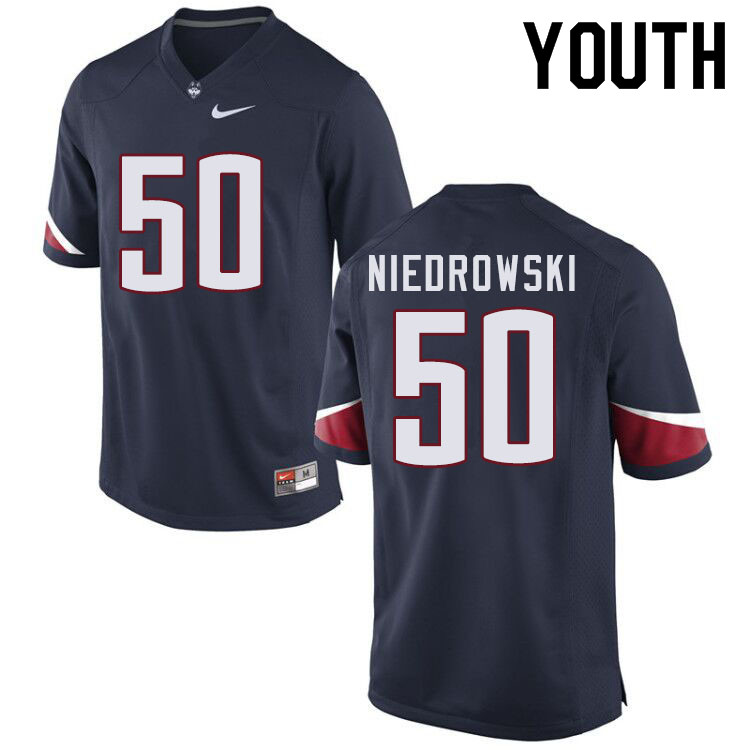 Youth #50 Dylan Niedrowski Uconn Huskies College Football Jerseys Sale-Navy